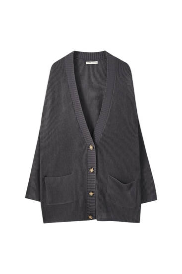 Long knit button-up cardigan