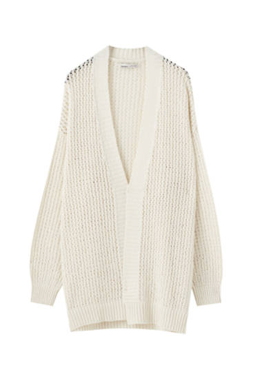 Bouclé open knit cardigan