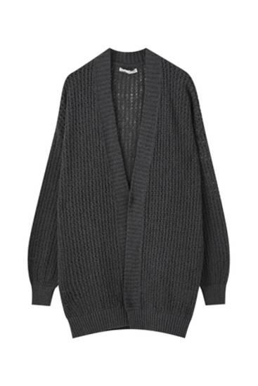 Open cardigan with openwork detail