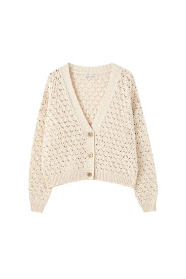 Open-knit rustic jacket
