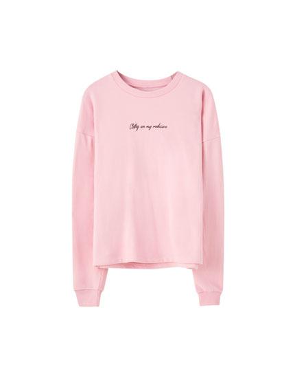 Colourful sweatshirt with contrast slogan