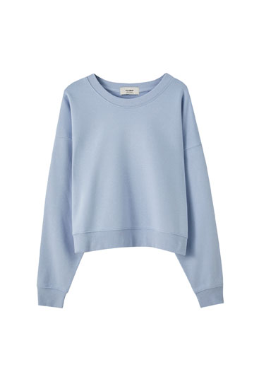 Basic round neck cotton sweatshirt
