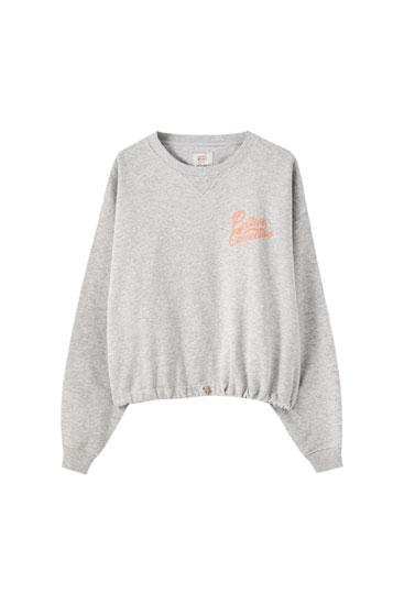 Kurzes Sweatshirt in Grau mit Gummizug am Saum