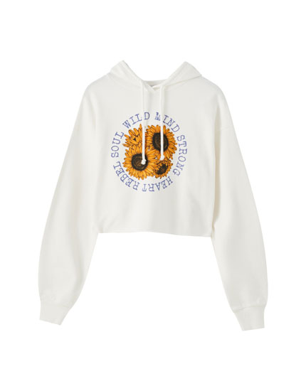Hoodie with sunflower illustration and slogan