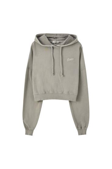 Grå, kort sweatshirt