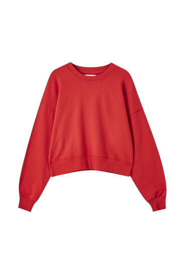 Basic sweatshirt met brede ribbiezen