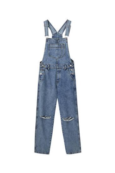 Jeans-Latzhose mit Zierrissen am Knie