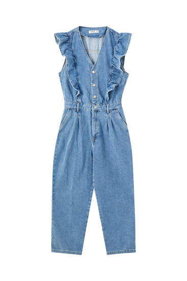 Blue denim jumpsuit with ruffles