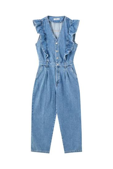 Combinaison jean bleu volants