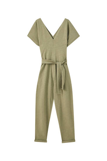 Square-cut neckline slub knit jumpsuit