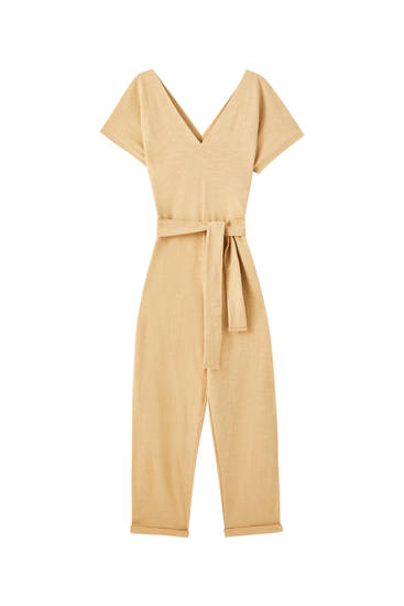 Slub knit jumpsuit with belt detail
