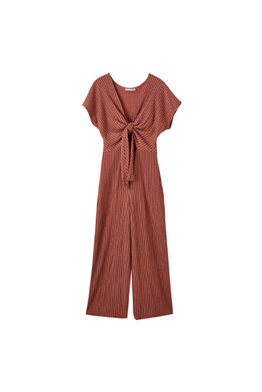 Textured jumpsuit with tied neckline