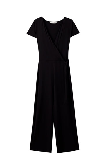 Jumpsuit with crossover neck and tie detail