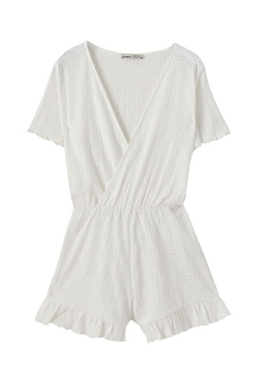 Embroidered wrap playsuit