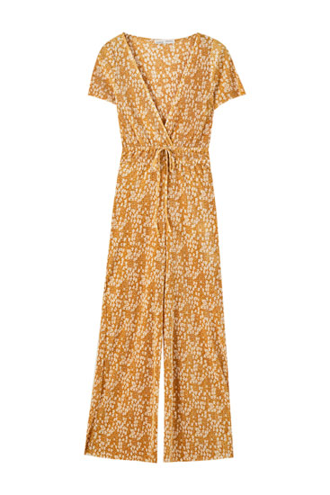 Pleated crossover jumpsuit