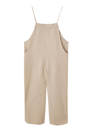Long dungarees with hem slit detail
