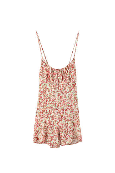 Printed strappy playsuit