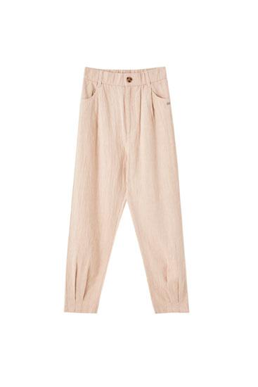 Paçaları pilili rustik pantolon