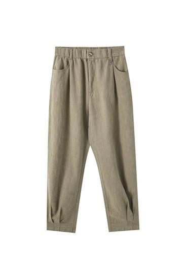 Pantalon rustique bas plissé