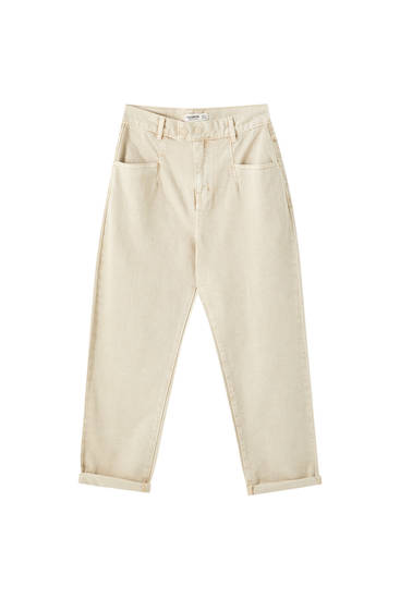 Double-button ochre jeans