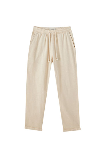 Slub knit trousers with elastic waist