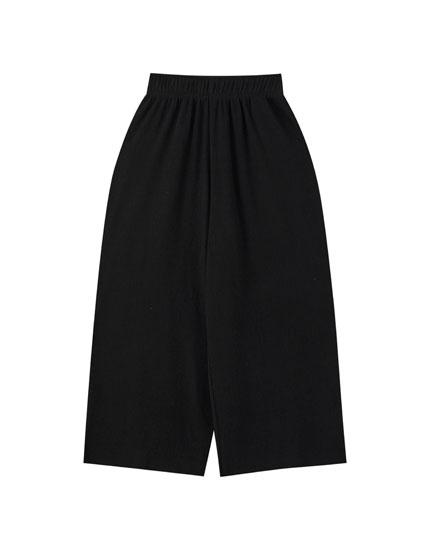 Jupe-culotte en tissu texturé