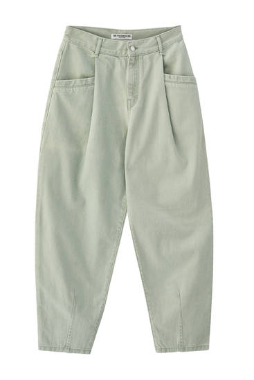 Aquamarine trousers with pleated detail