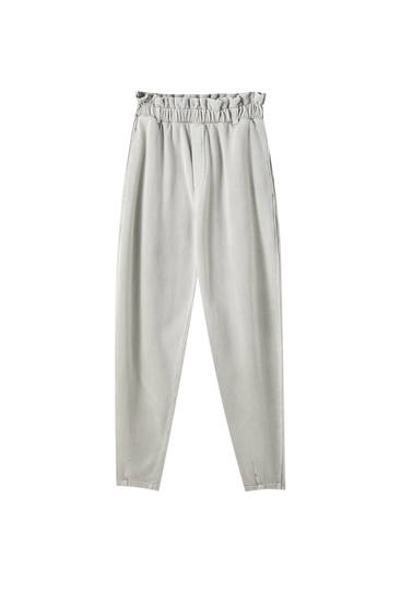Grey paperbag suit trousers