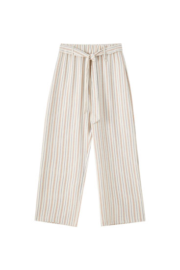 Striped rustic culottes