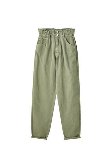 Slouchy jeans med bred, elastisk linning