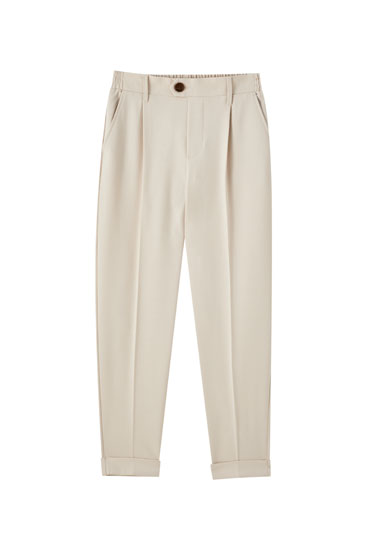 Sand-coloured tailored trousers