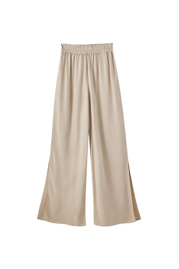 Linen trousers with elastic waistband