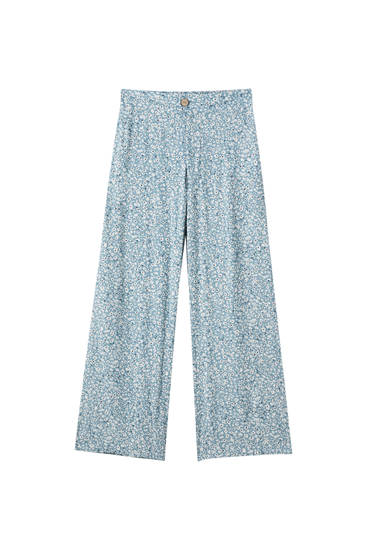 Desenli loose fit culotte pantolon