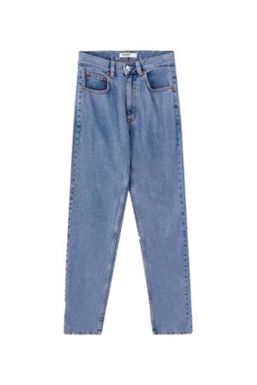 Paprasti siaurėjantys džinsai aukštu juosmeniu