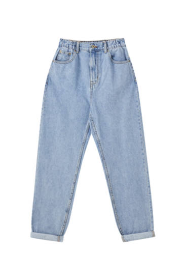 Mom fit jeans med elastik i taljen