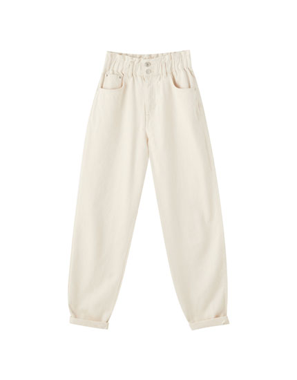 Double-button gaucho jeans