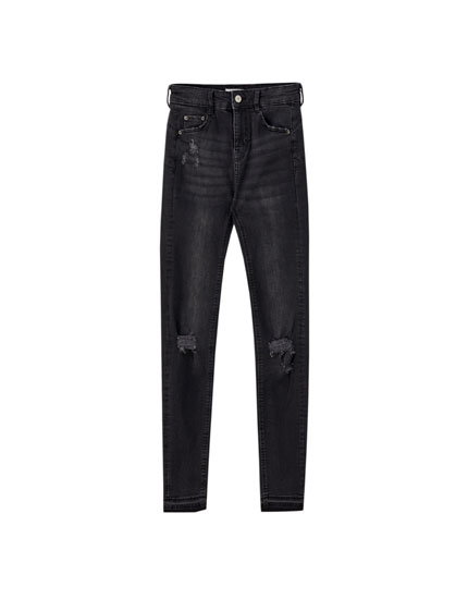 Push-up jeans with ripped detail