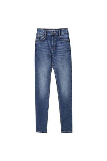 Skinny fit jeans med normal talje