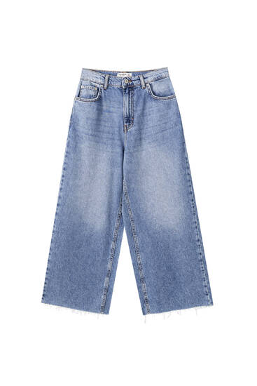 Basic culotte-jeans i bomuld