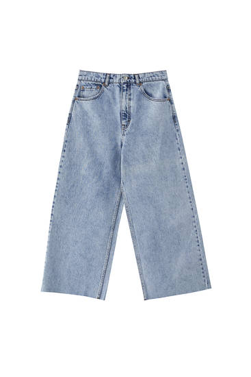 Jeans culottes básicas de algodão