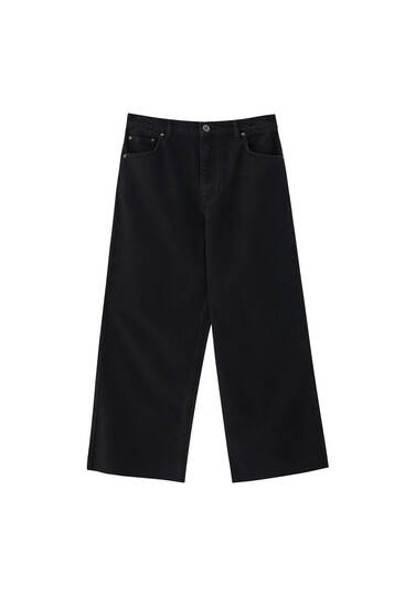Basic cotton culotte jeans
