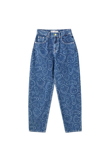 Jeans slouchy Smiley azul