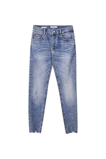 Skinny fit capri-jeans med normal talje