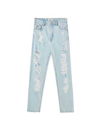 Jeans mom rotos pernera