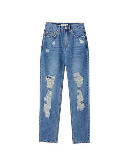 Mom jeans with rips on the legs
