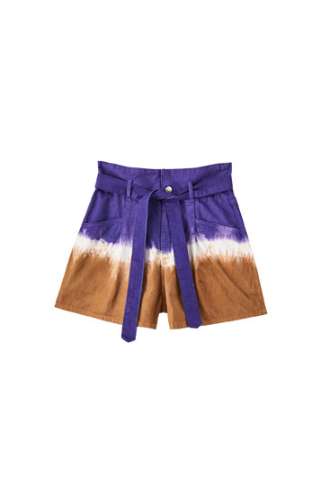Tie-dye denim Bermuda shorts