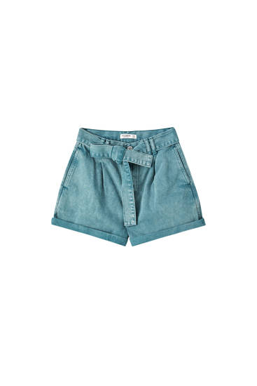 Green paperbag denim shorts
