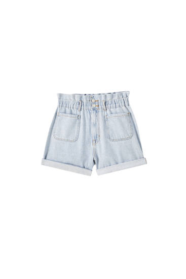 Denim shorts with wide elastic waistband
