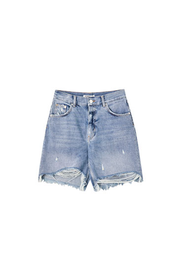 High waist blue denim Bermuda shorts