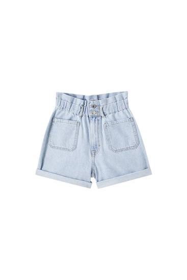 Jeans-Bermudashorts mit Stretchbund